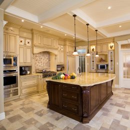 Beige Kitchen With a Large wooden island